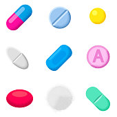 Set of different pills and capsules. Icons of medicament.