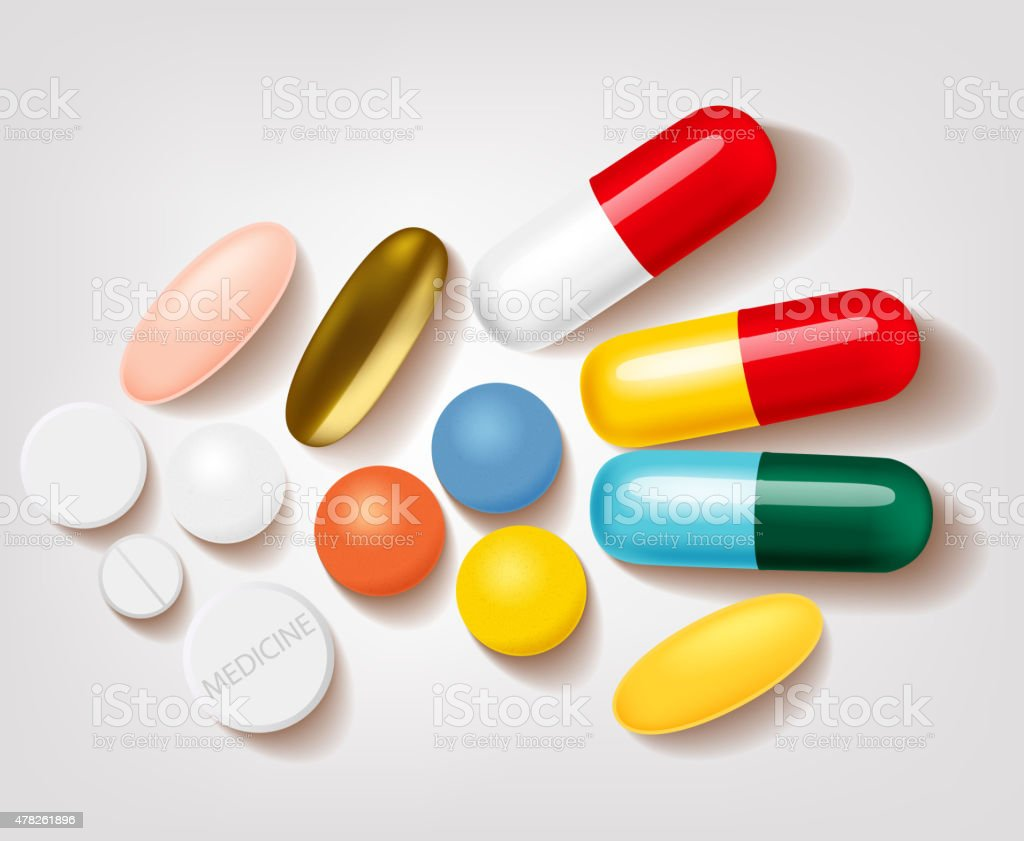 Set of different pills and capsules pharmacy vector art illustration