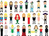 Set of different pixel art characters isolated on white. Vector