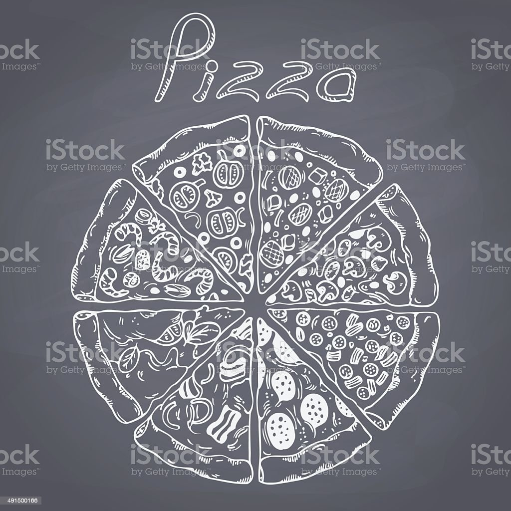 Set of different pizza slices in vector. Chalk style illustration vector art illustration