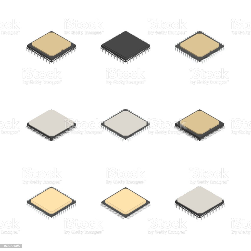 Set of different processors in 3D, vector illustration. royalty-free set of different processors in 3d vector illustration stock illustration - download image now