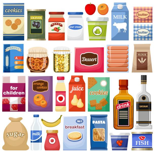 illustrazioni stock, clip art, cartoni animati e icone di tendenza di set of different products on the white background - banchi di pesci