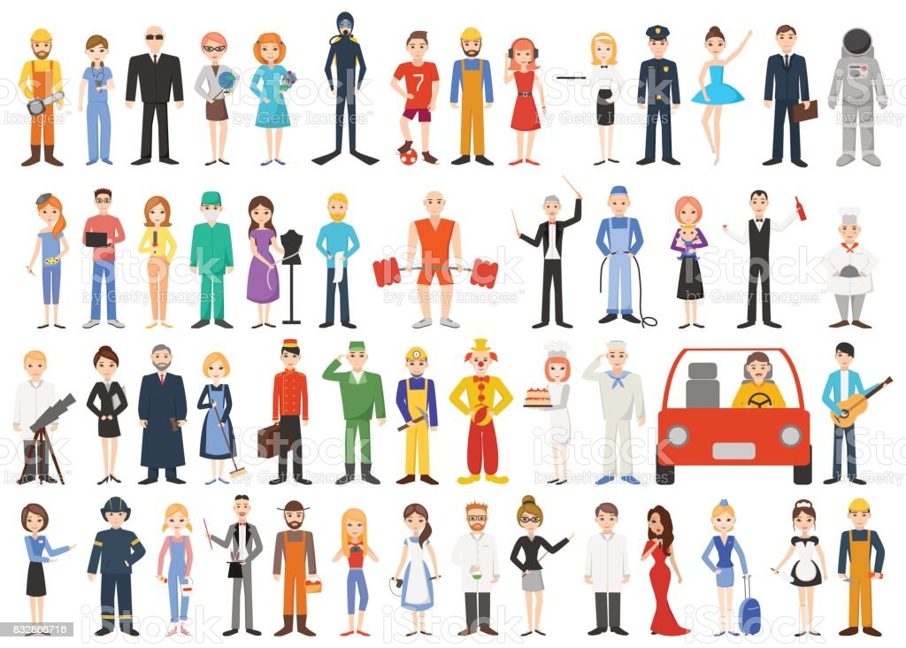 Set of different professions. People isolated on white background. vector art illustration