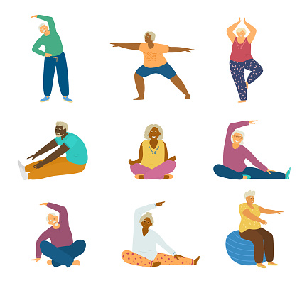 set of different races elderly people doing fitness exercises and yoga