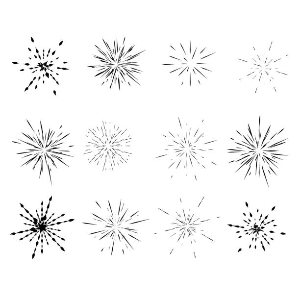 set of different radial explosions, rays, - spark stock illustrations