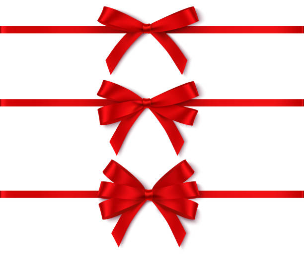 ilustrações, clipart, desenhos animados e ícones de jogo de curvas vermelhas diferentes com a fita horizontal para o projeto do feriado isolado no branco. - laço
