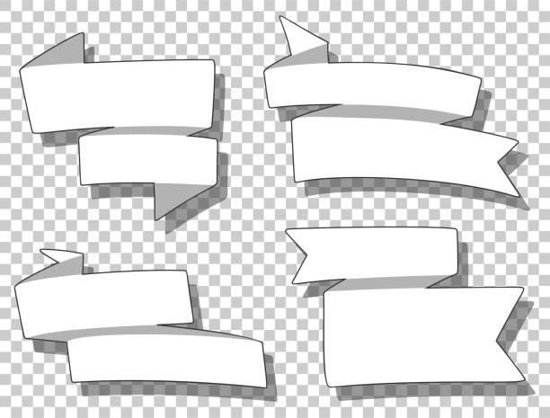 Set van verschillende linten in cartoon stijl. Sjabloon voor prijskaartje, tekst van het kortings bericht, poster. Vector afbeelding.vectorkunst illustratie