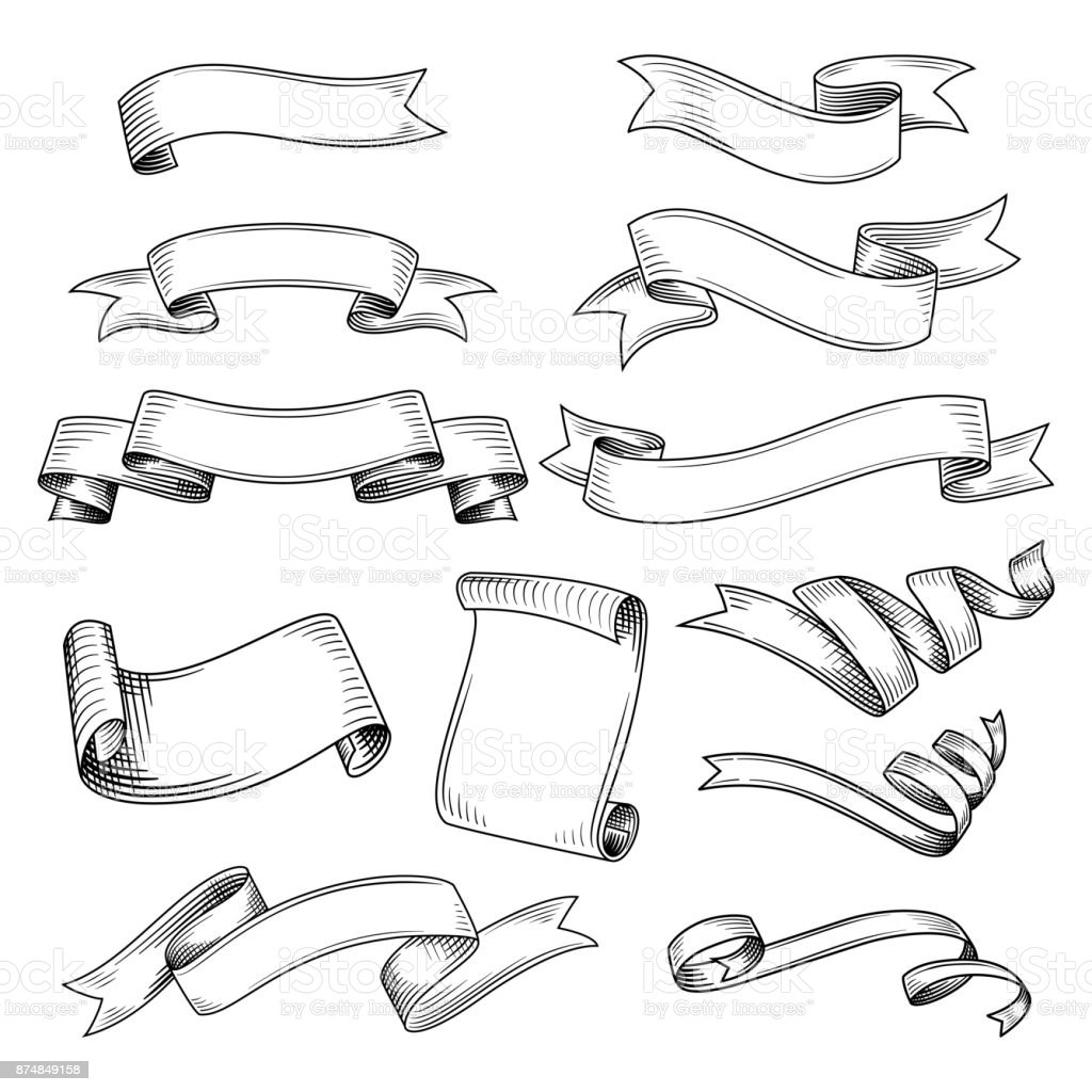 Set of different ribbons vector art illustration