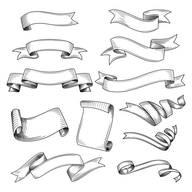 set of different ribbons - ribbon sewing item stock illustrations