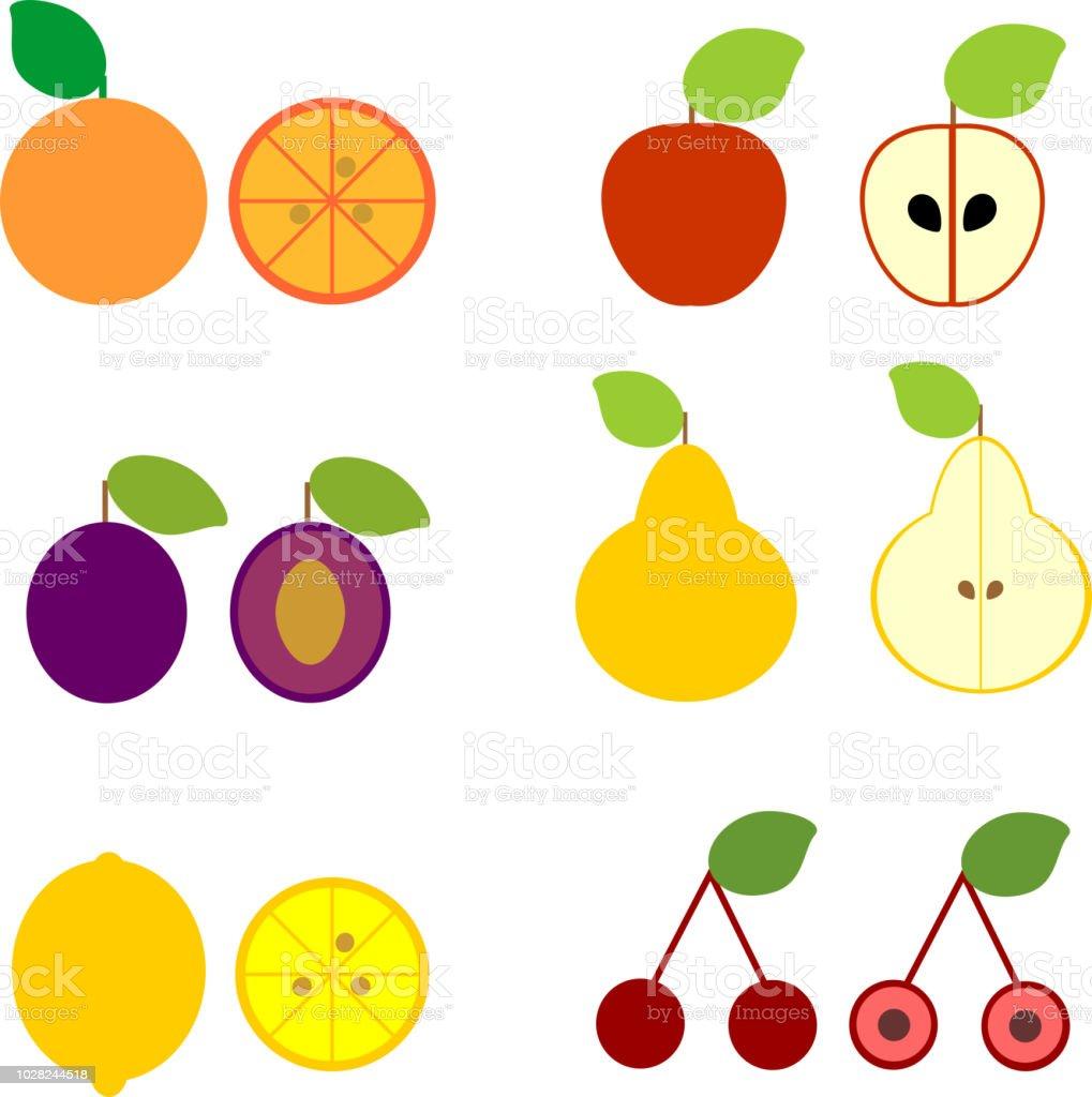 簡単な漫画のスタイルの白い背景で隔離のさまざまな熟した果物のセット