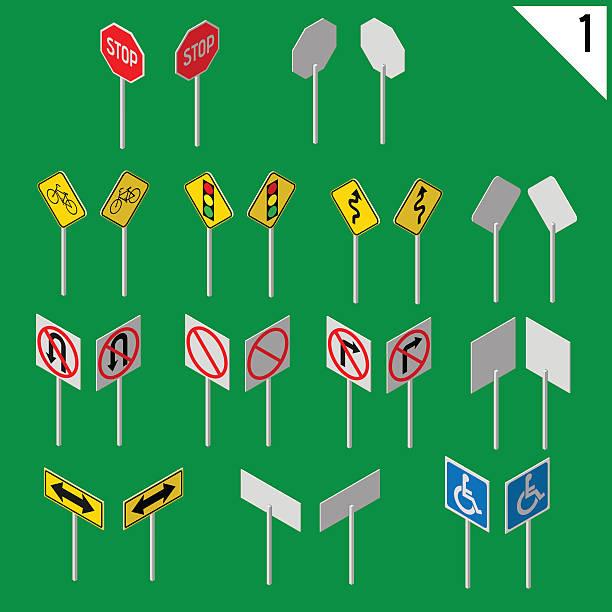 Reihe von verschiedenen Verkehrszeichen Isometrische. – Vektorgrafik