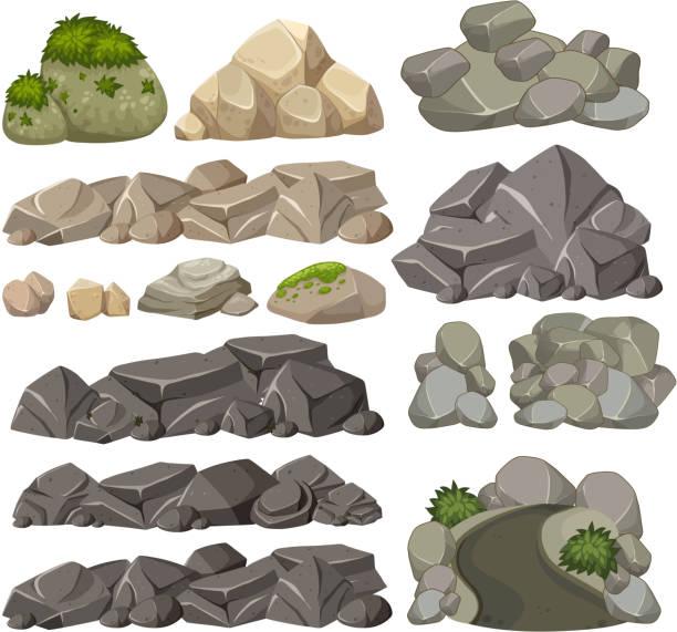 Set of different rocks Set of different rocks illustration moss stock illustrations