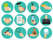 Set of different round icons of business theme with hands
