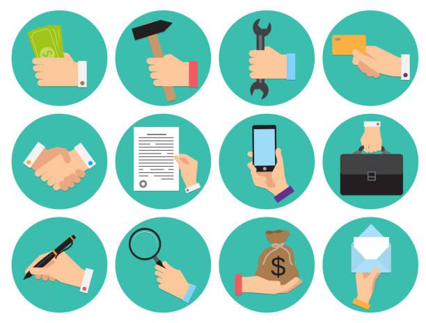 stockillustraties, clipart, cartoons en iconen met set van verschillende ronde iconen van zakelijke thema met handen - menselijke hand