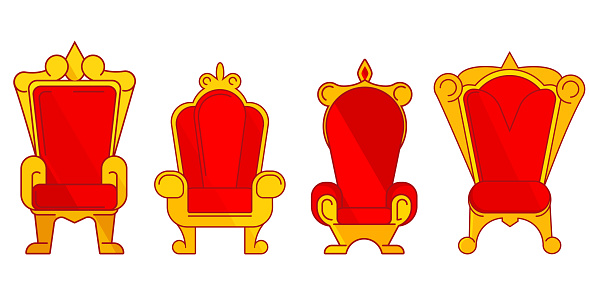 Set of different royal thrones.