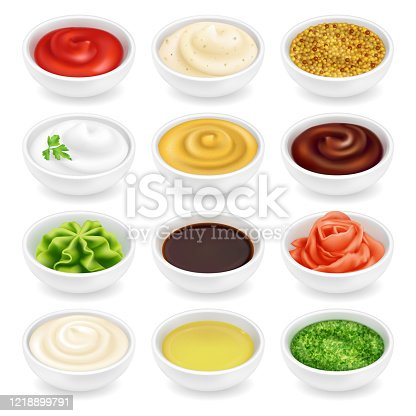 Many different sauces in round bowls set. Various ketchup mustard condiment in 3d realistic style. Top view. Textured pesto tartar spices isolated on white background. Oil, mayonnaise and sour cream vector illustration.