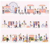 Set of different scenes with people walking, buying meals, ride a bike, taking photo, talking to each other, fun and dance, watch the performance, cartoon flat design. Editable vector illustration