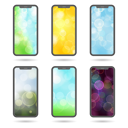 set of different screens for mobile phones -  flat vector illust