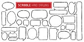 Set of different scribble hand drawn speech bubbles isolated on white background