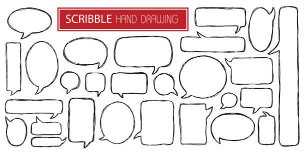 satz von verschiedenen kritzeleien handgezeichnete sprechblasen isoliert auf weißem hintergrund - sprechblase stock-grafiken, -clipart, -cartoons und -symbole