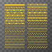 Set of different seamless yellow and black caution tapes