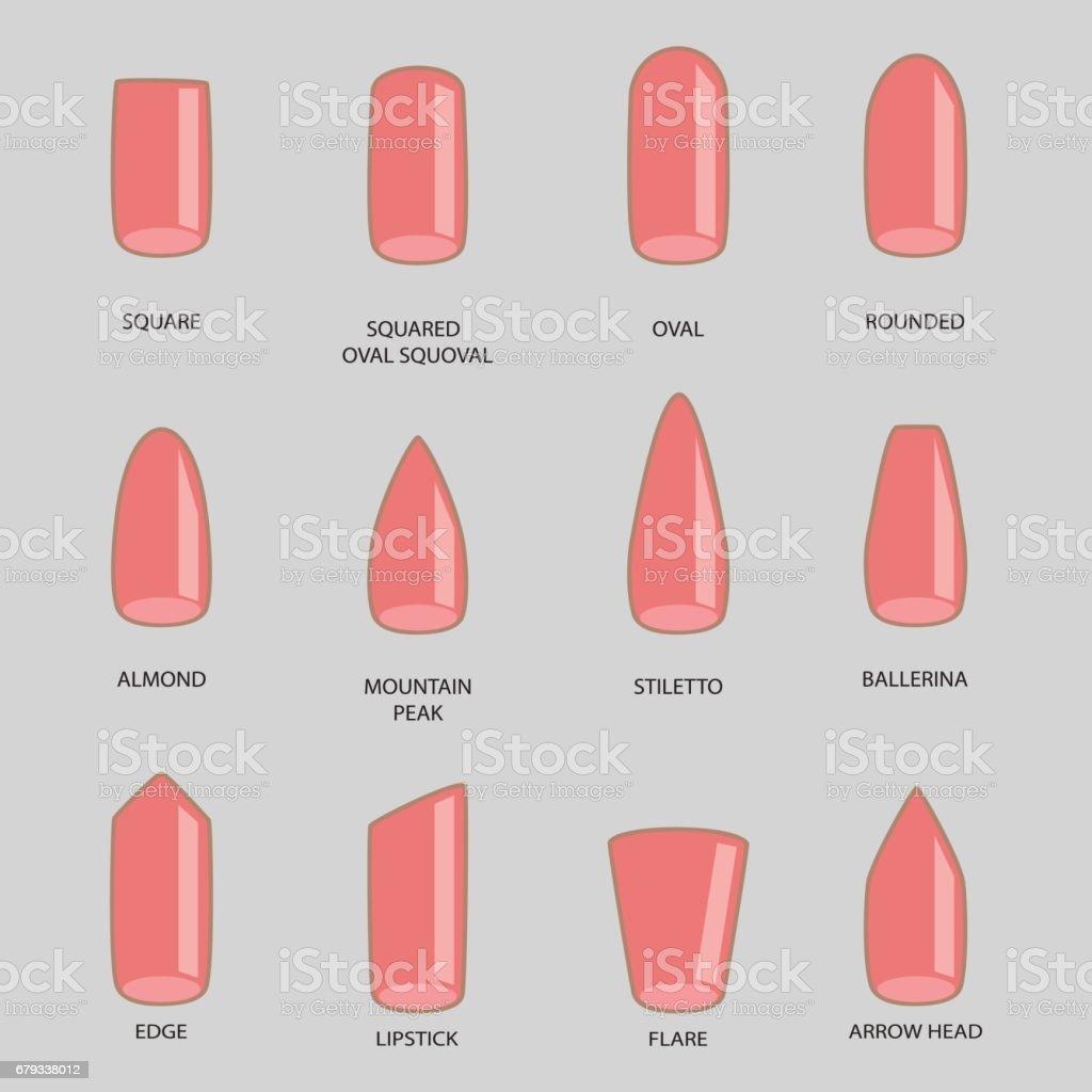 reihe von verschiedenen formen der nägel auf grau nagelformsymbole