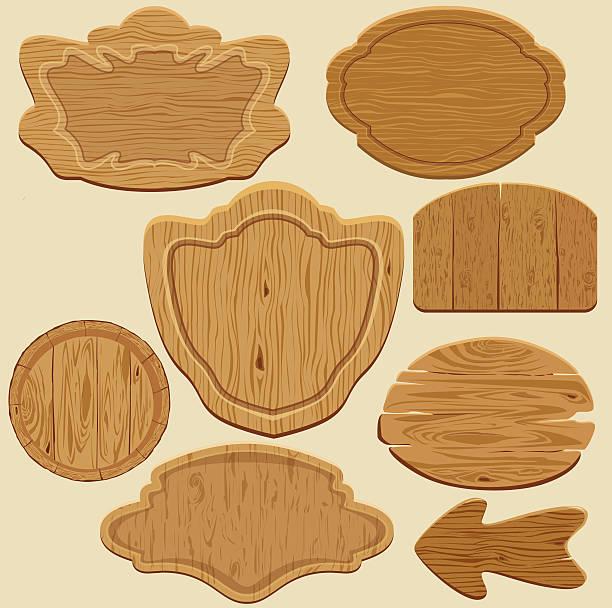ilustrações de stock, clip art, desenhos animados e ícones de conjunto de diferentes formas de quadros de madeira - lian empty