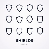 Set of different shields, templates for design of signs. Vector illustration.