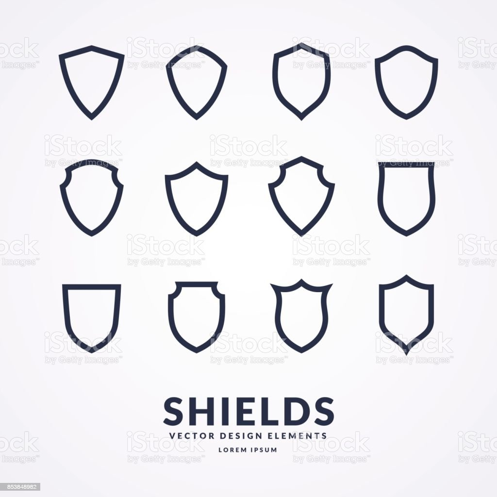 Set of different shields, templates for design of signs vector art illustration
