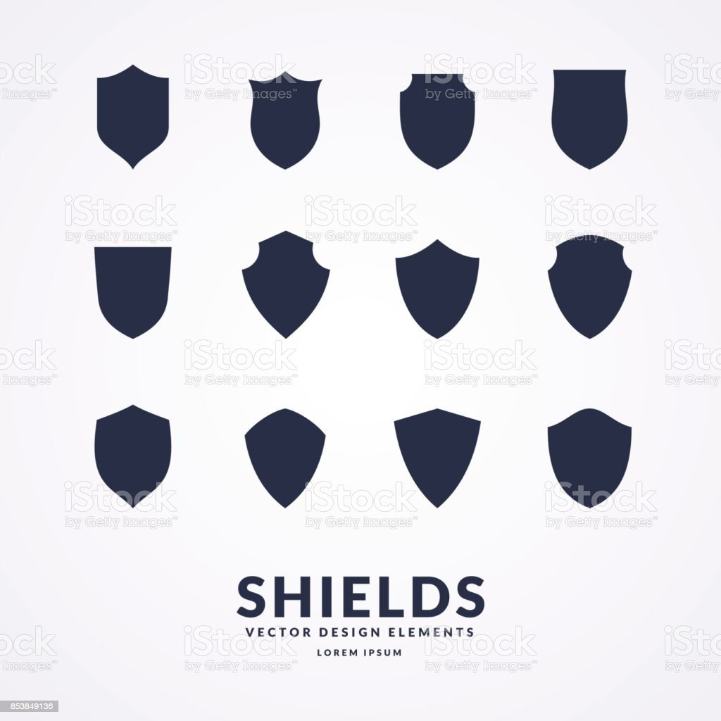 set of different shields templates for design of signs stock vector
