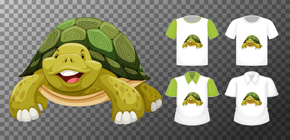 Set of different shirts with animal cartoon character isolated on transparent background