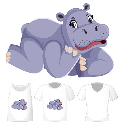 Set of different shirts with hippopotamus cartoon character isolated on white background