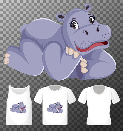 Set of different shirts with hippopotamus cartoon character isolated on transparent background