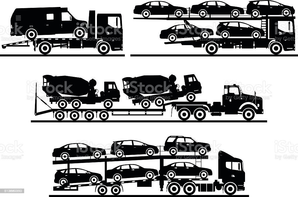 Set of different silhouettes auto transporters isolated on white background.