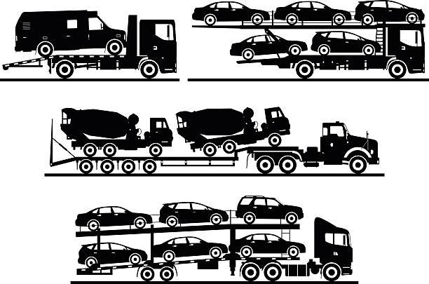illustrazioni stock, clip art, cartoni animati e icone di tendenza di gruppo di diversi modelli automatico trasportatori sola su sfondo bianco. - portare