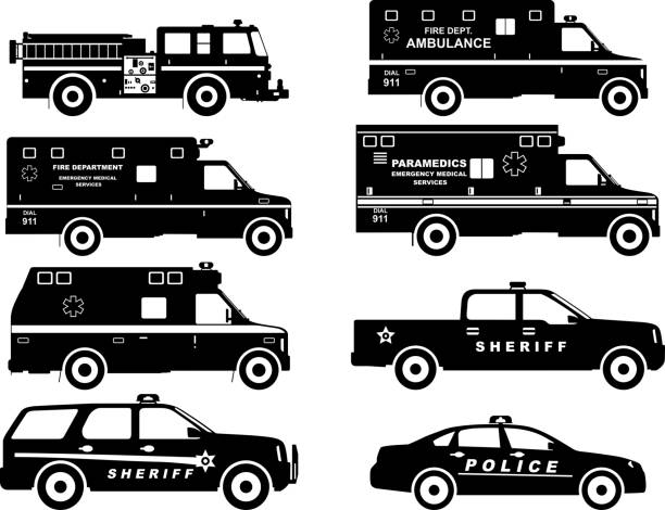 Set of different silhouettes fire truck, police and ambulance cars. vector art illustration
