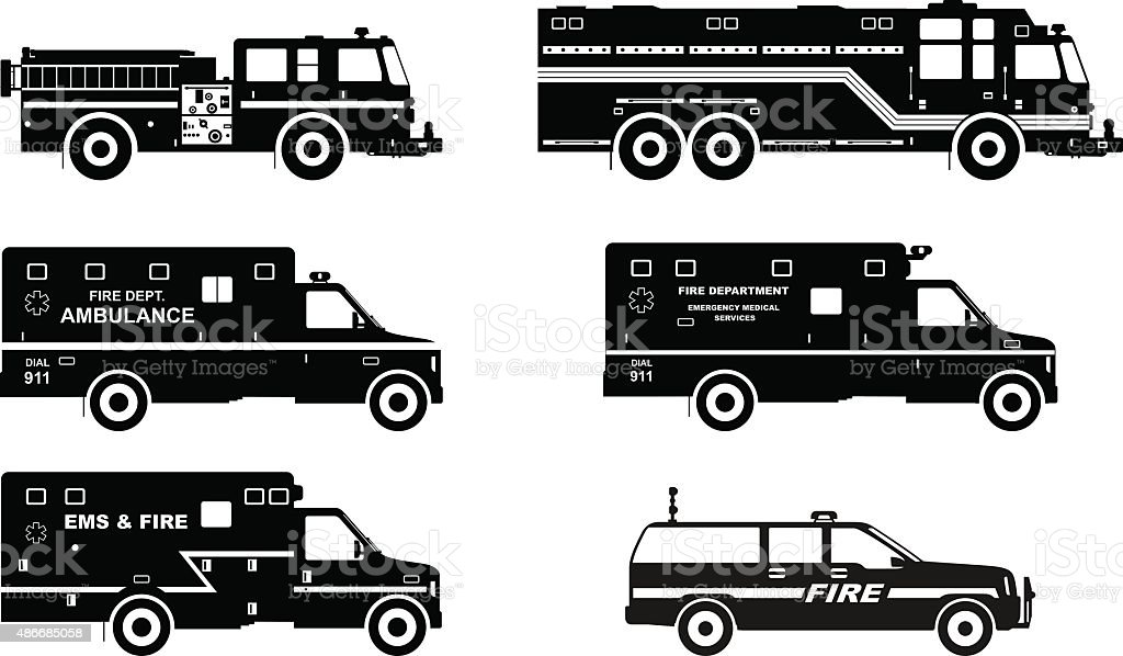 Set of different silhouettes fire trucks and ambulance cars. vector art illustration