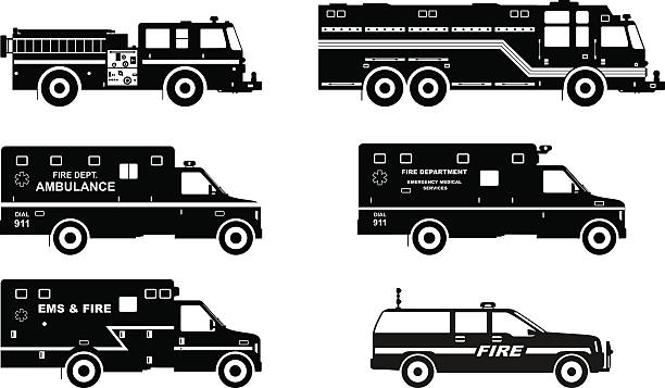 Set of different silhouettes fire trucks and ambulance cars. Silhouette illustration of fire trucks and ambulance cars isolated on white background. fire engine stock illustrations