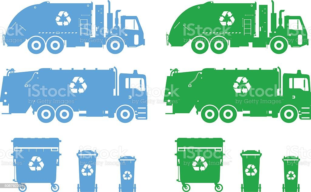 Set of different silhouettes garbage trucks and dumpsters. vector art illustration