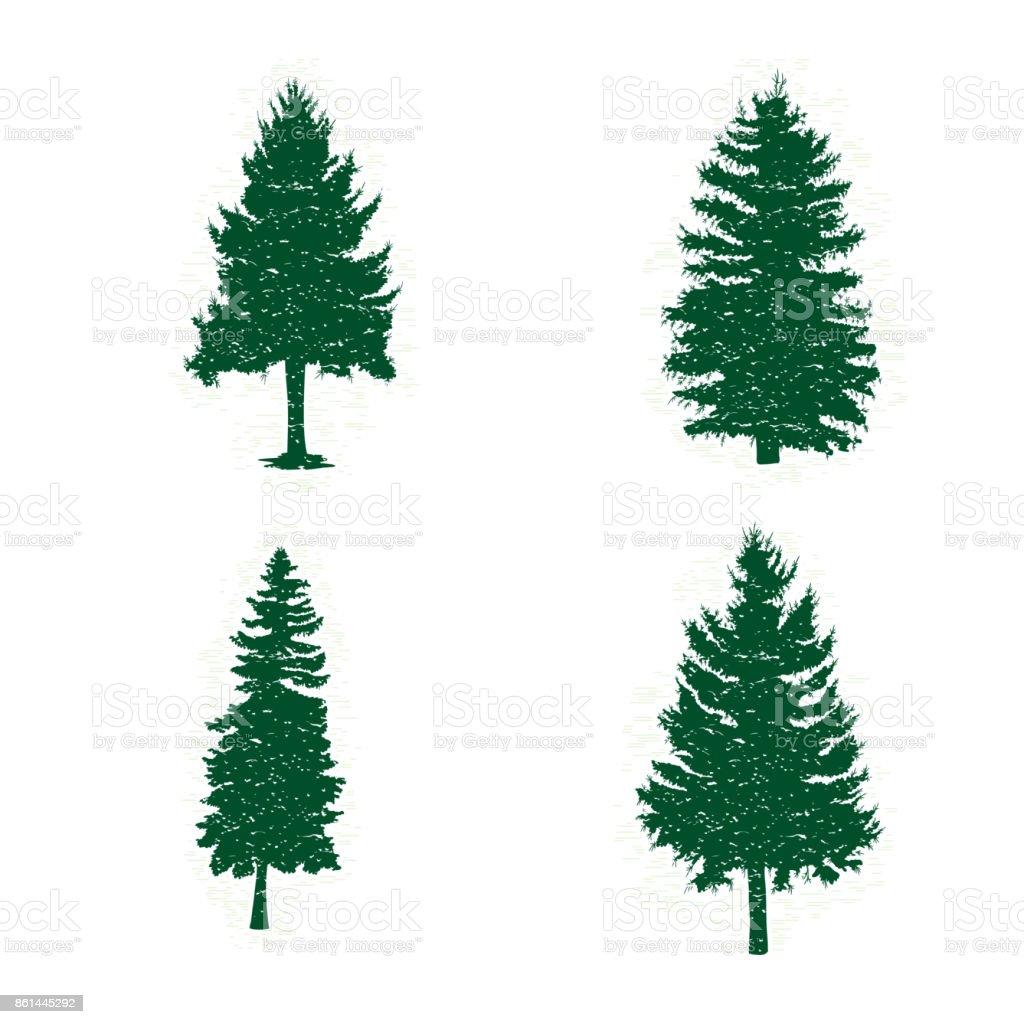 Ilustración de Conjunto De Diferentes Siluetas De árboles De Pino ...
