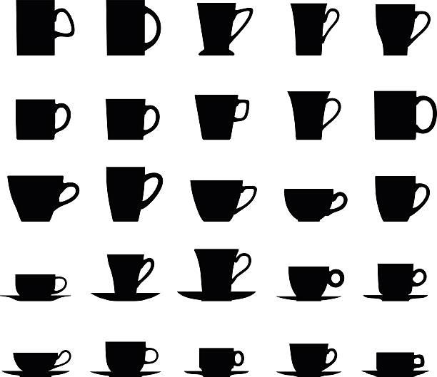 stockillustraties, clipart, cartoons en iconen met set of different silhouettes tea cups isolated on white background. - theekop