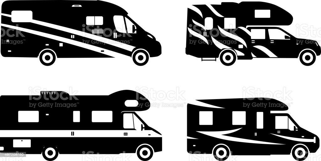 Conjunto De Siluetas De Diversos Caravana Caravanas - Arte vectorial ...