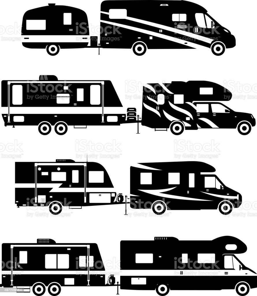 Set Of Different Silhouettes Travel Trailer Caravans Royalty Free