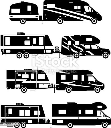 Set Of Different Silhouettes Travel Trailer Caravans Stock Vector Art More Images Camping 497209864