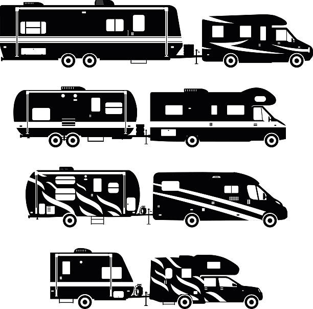 Set Of Different Silhouettes Travel Trailer Caravans Vector Art Illustration