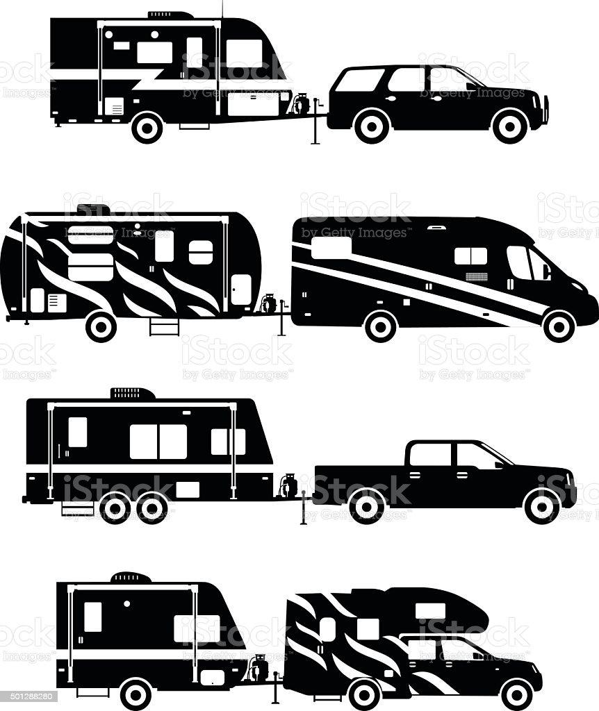 Set of different silhouettes travel trailer caravans. vector art illustration