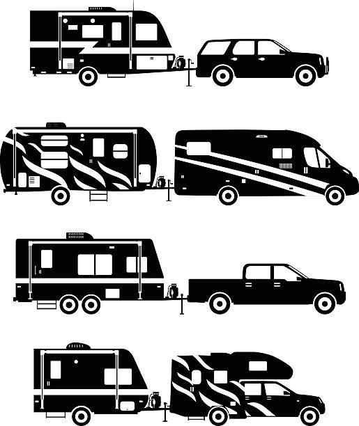 satz von verschiedenen silhouetten travel trailer wohnwägen. - wohnwagenanhänger stock-grafiken, -clipart, -cartoons und -symbole