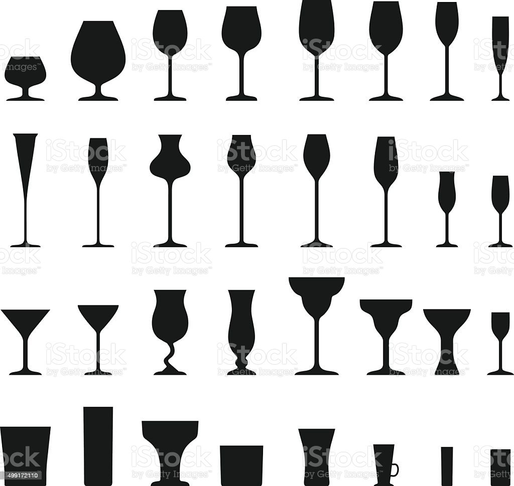 Set of different silhouettes wine glasses isolated on white background. vector art illustration
