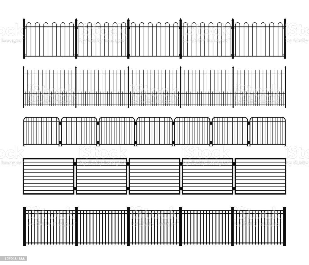 Conjunto de siluetas de diferentes valla metálica modular simple - ilustración de arte vectorial