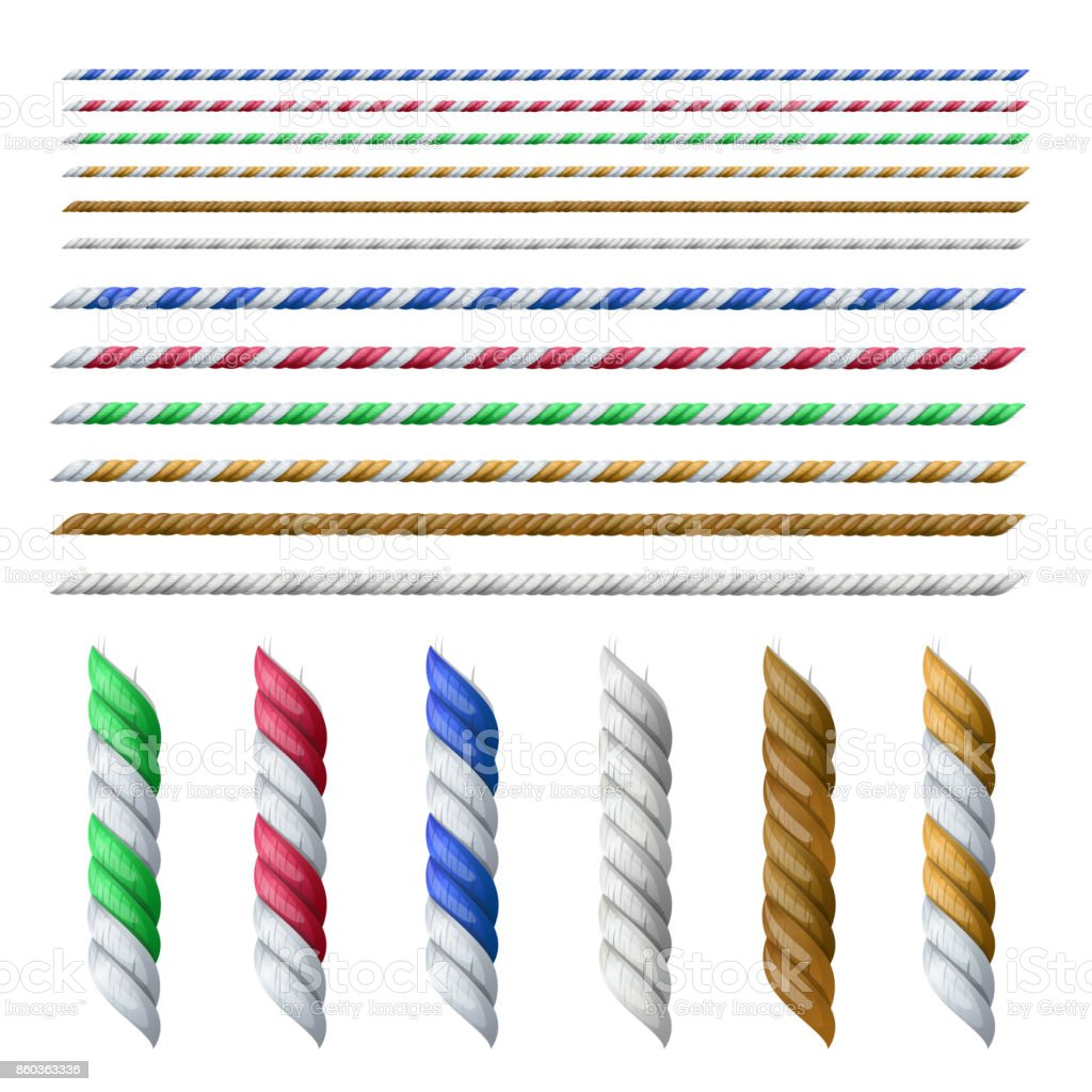 Set of different size and color ropes isolated on white, vector illustration. vector art illustration
